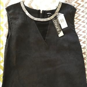 Black and sheer sueded vest. NWT